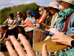 The tribe at the centre... let's drum!