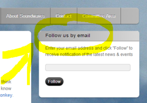 "The ""Follow us by email"" box is in the top right-hand corner."